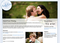 Screen capture of Andy & Lisa's Wedding site.